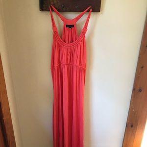Salmon colored maxi dress